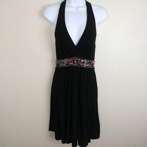 WHBM Halter Style Black Beaded Dress Size 0